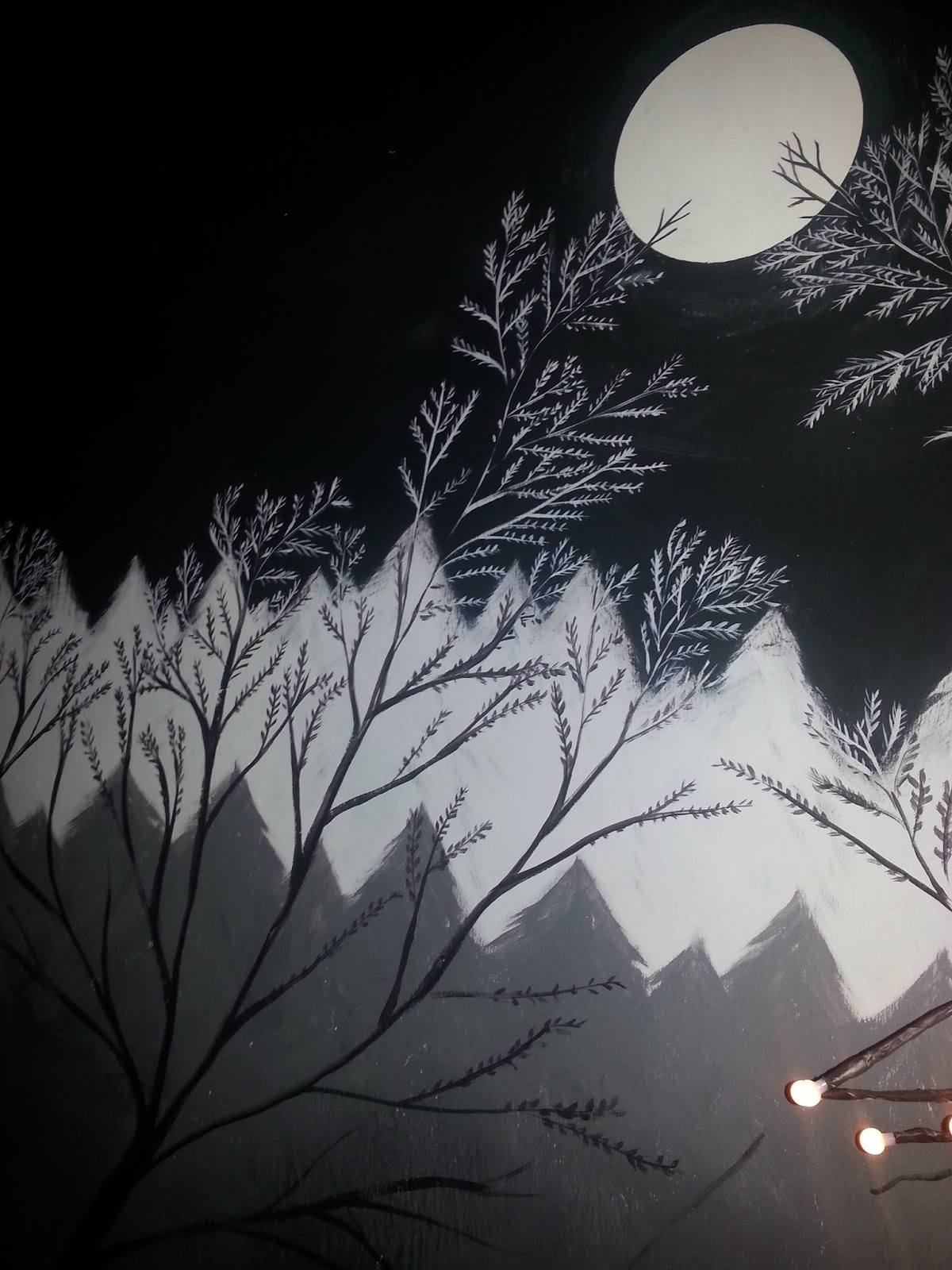 Bedroom mural of a midnight forest.