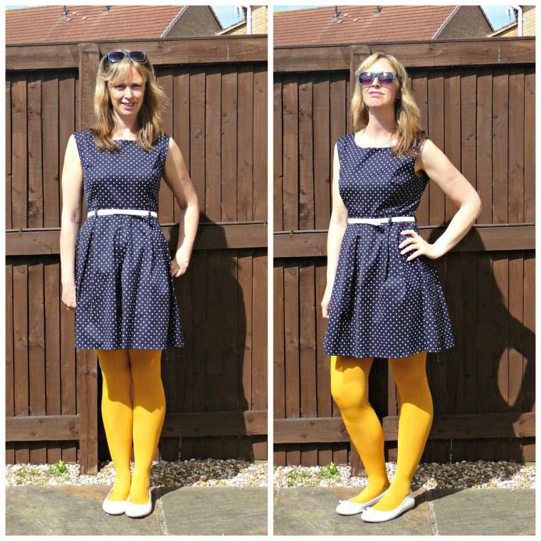 Apricot Online Review: Navy Blue Polka Dot Dress .
