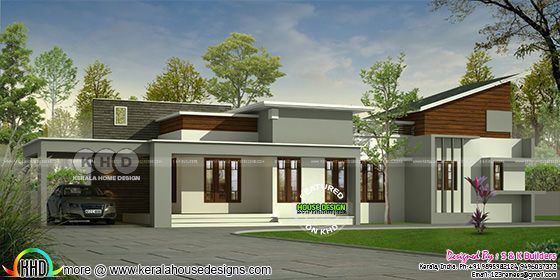 Modern mix roof Kerala one floor home 1300 sq-ft