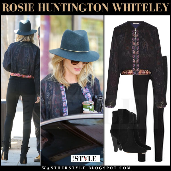 Rosie Huntington-Whiteley in black sheer etro bomber, black skinny jeans and ankle boots what she wore streetstyle