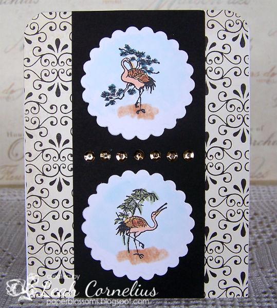 Art Neko, Leah Cornelius, Crane with Bamboo Crane with Pine, Copic markers