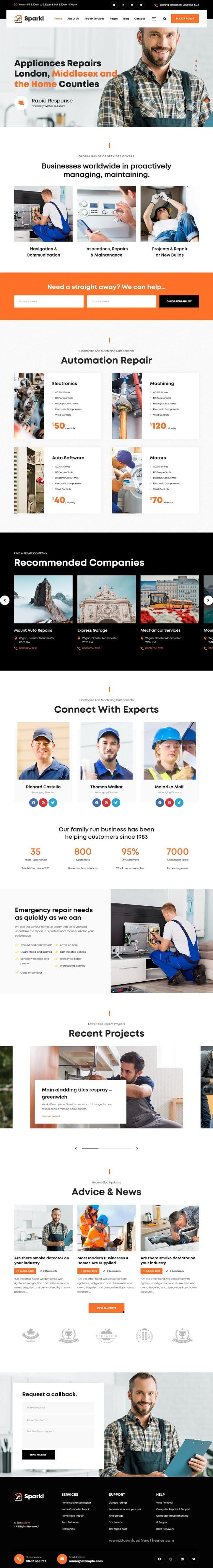 Service Repair WordPress Theme