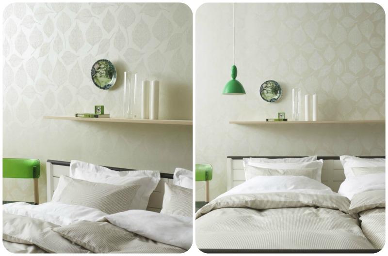zielone dekoracje w sypialni