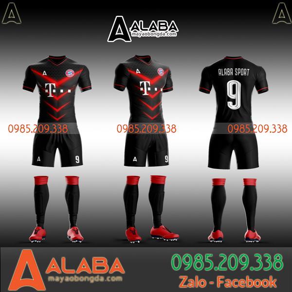 Áo bóng đá tự thiết kế màu đỏ đen đẹp