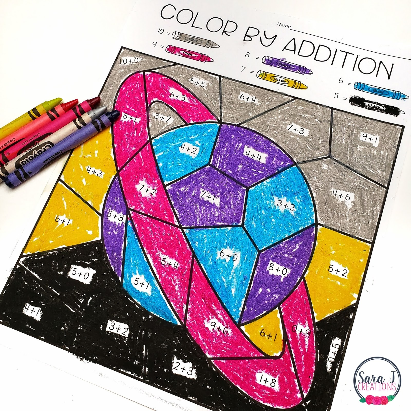 Color By Addition Free Space Themed Printable Sara J Creations