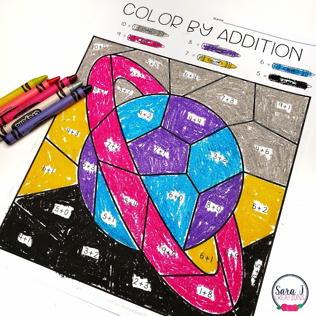 Grab your free color by number worksheets now! These free space themed color by addition printables are perfect for kindergarten, first grade and even second grade. They are a great way to practice math facts, build fluency, and have some fun!