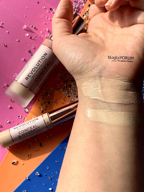 makeup revolution conceal hydrate fondöten f3 conceal hydrate kapatıcı c2 swatch