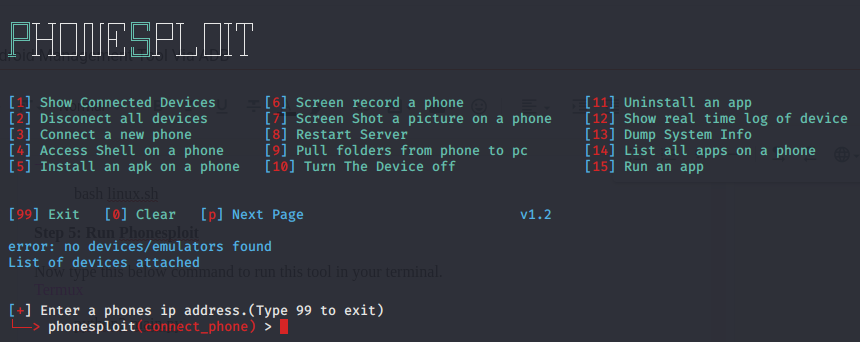 Phonesploit-Remote Android Management Tool Via ADB