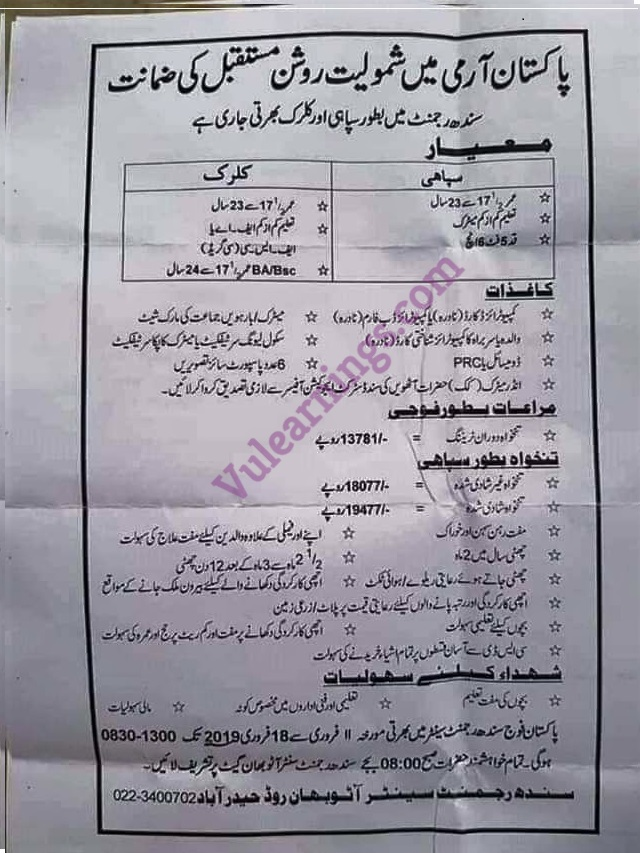 Job in Pakistan Army Sindh