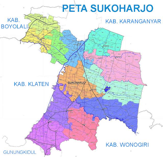 Gambar Peta Kabupaten Sukoharjo