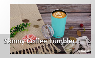 SUNWILL Vacuum Insulated Skinny Coffee Tumbler