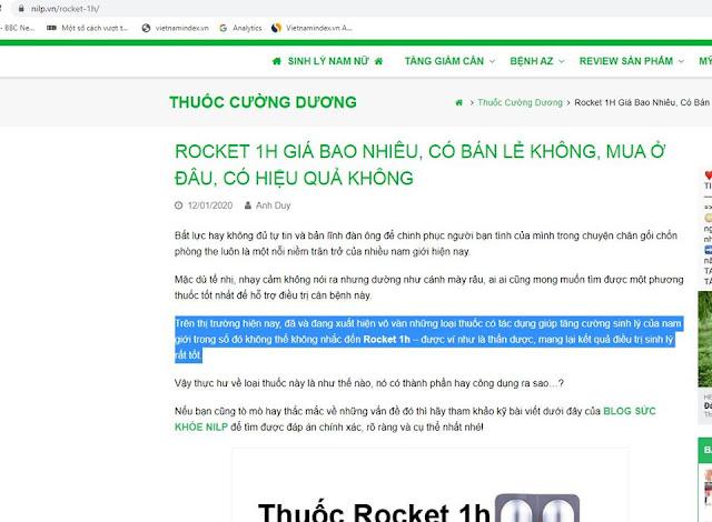 Rocket của công ty Sao Thái Dương đang quảng cáo như 'thần dược', 'thuốc kích dục'