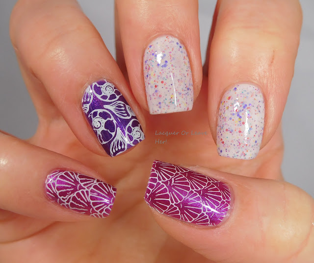 Lina Nail Art Supplies Born To Sail 01 over Girly Bits Cosmetics Codename: Duchess polishes