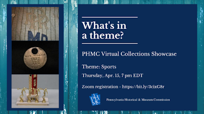"""Text reads """"What's in a theme? PHMC Virtual Collections Showcase"""" Background image is a wooden wall and there are smaller images of a baseball uniform, a round metal ID tag, and a bowling trophy"""