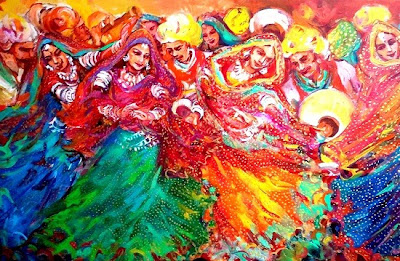 Utsav, painting by Debjani Datta, Mixed media on Canvas, 18 x 30 inches (part of her portfolio of paintings on www.indiaart.com)