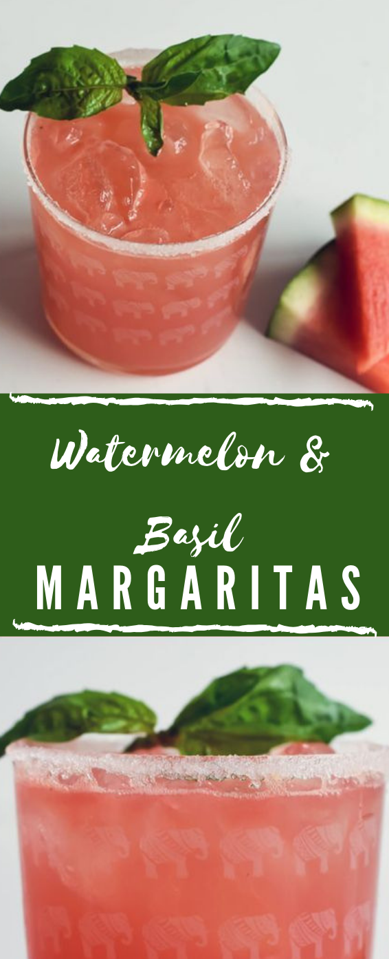 Watermelon & Basil Margarita  #cocktail #drink #watermelon #margaritas #water