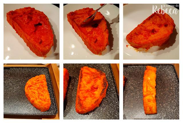 Receta de torrijas de tomate con polvo de jamón: cocinado
