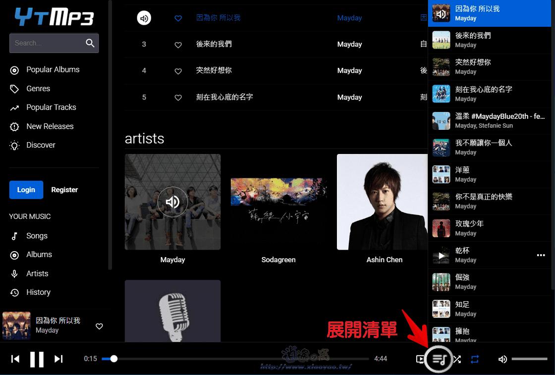 YTMP3.fun 免費串流音樂網站,線上第三方 YouTube 播放器