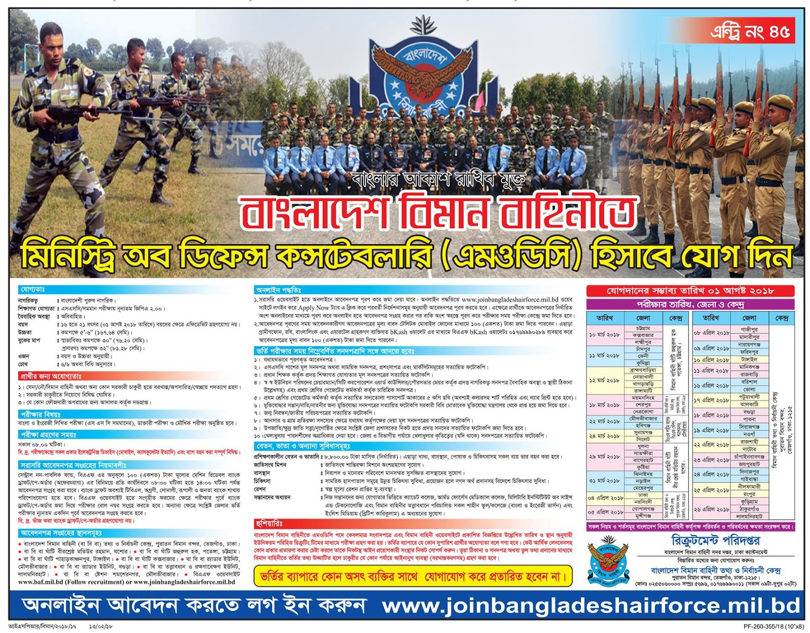 Bangladesh Air Force Ministry of Defense Constabulary (MODC) Recruitment Apply Instruction, Educational Qualification, Salary, Application Fee, Age and Other Information