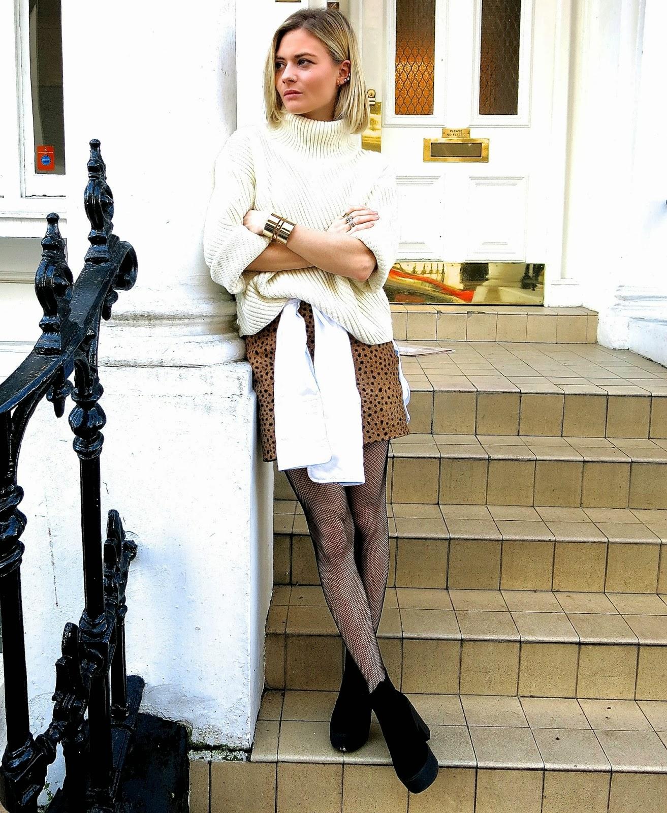 fdd07a8f0e93e I'm wearing a polo neck by & Other Stories, a men's white dress shirt, a  Shakuhachi ponyskin skirt, fishnet tights from Tabio, platform boots from  Topshop, ...