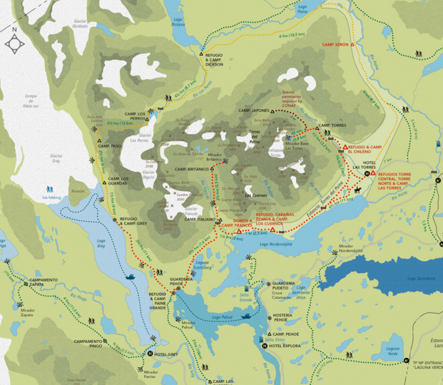 Map of the W-Circuit  Patagonia Chile trekking on the W-Circuit in Torres Del Paine & Cerro Paine Grande, in the Cordillera Paine,