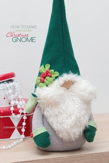 Olof large Christmas gnome with a wool Swedish hat by sewing patterns of Zatinatskaya Natalia