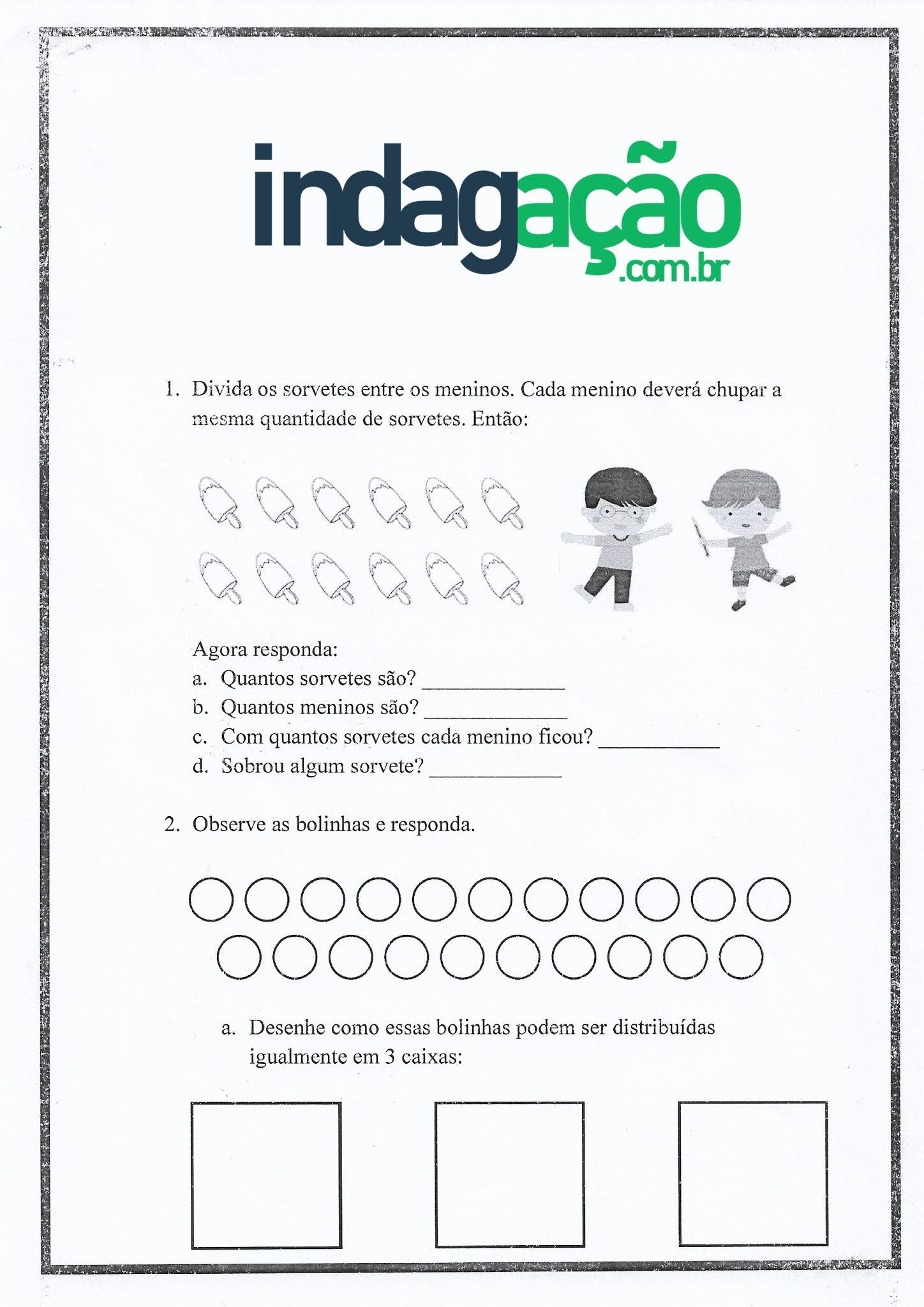 Atividade de Matemática: Divisão - Ensino Fundamental