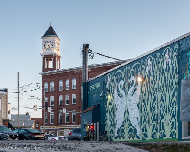 April 2021 Portland Maine Photo by Corey Templeton The mural by artists Pat Corrigan & Jenny Gardiner behind Speedwell Projects in Woodfords Corner.