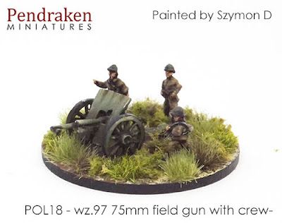 POL18 wz.97 75mm field gun, spoked wheels, with crew