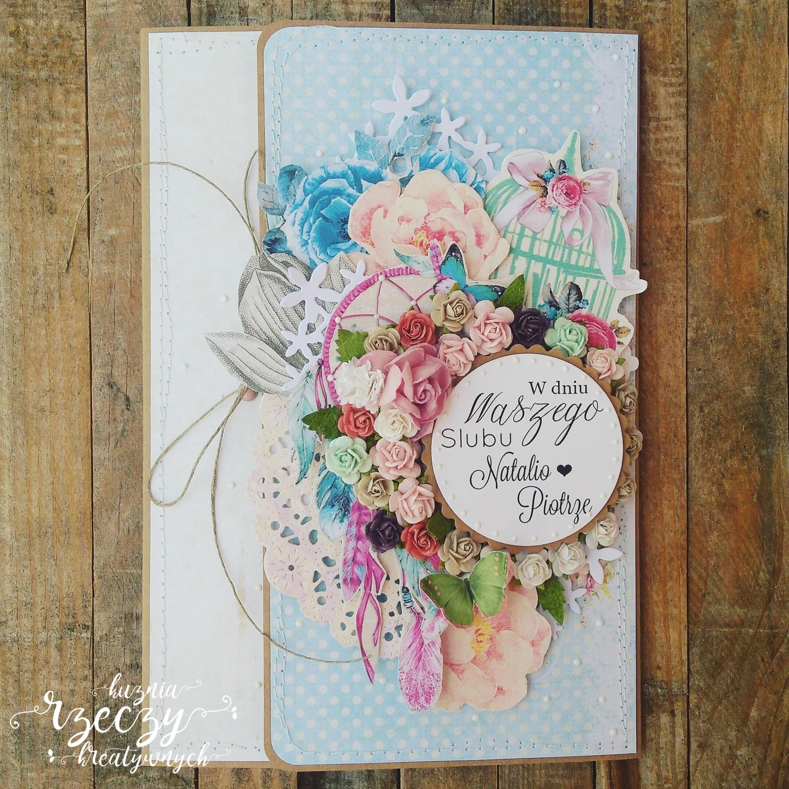 Wyjątkowa, kreatywna, oryginalna kartka okolicznościowa z okazji ślubu.