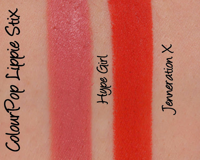 ColourPop Lippie Stix - Hype Girl, Jenneration X Swatches & Review