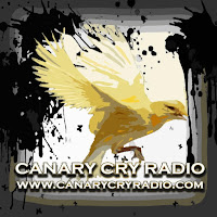 The logo for Canary Cry Radio, which features a yellow canary with the Caption Canary Cry Radio and the web address underneath of www.canarycryradio.com