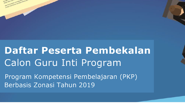 Daftar Peserta Pembekalan Calon Guru Inti Program PKP Berbasis Zonasi 2019