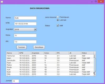 java menampilkan data dengan tabel jtable