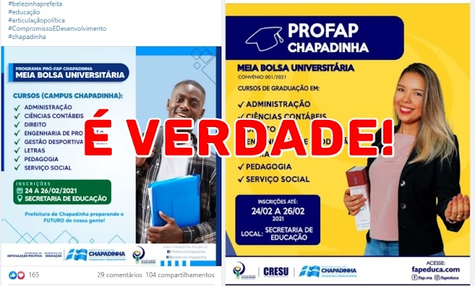 LAMENTÁVEL! Opositor tenta desqualificar Belezinha por conseguir parceria com a FAP e garantir um futuro profissional melhor para jovens chapadinhenses.