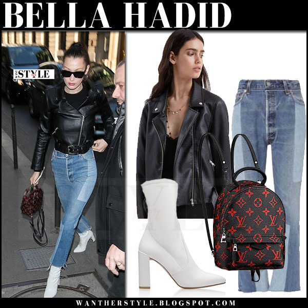 Bella Hadid in black leather jacket, patchwork jeans and white leather boots stuart weitzman clinger what she wore