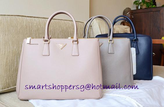 2960ec4a0aebef Queenie's bag boutique: PRADA BN1786 saffiano Lux tote middle size in  Argil(clay grey)