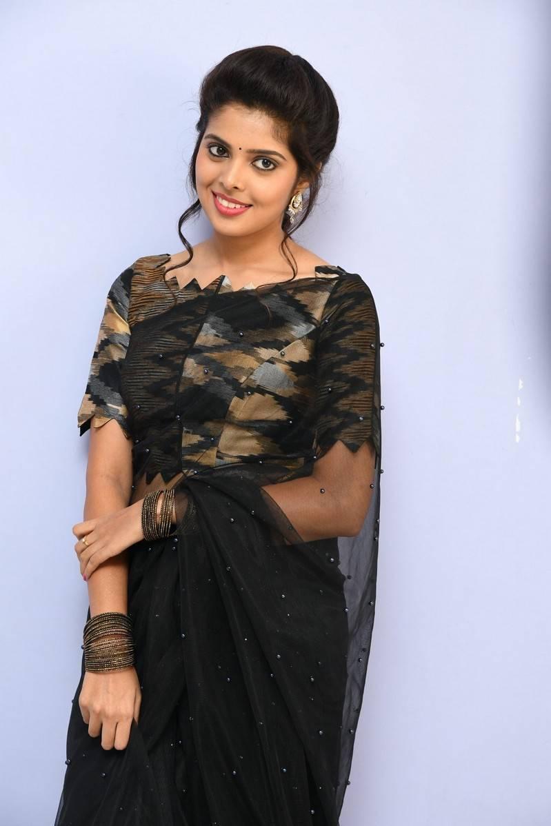 Tollywood Actress Shravya Long Hair In Black Saree Tollywood Stars