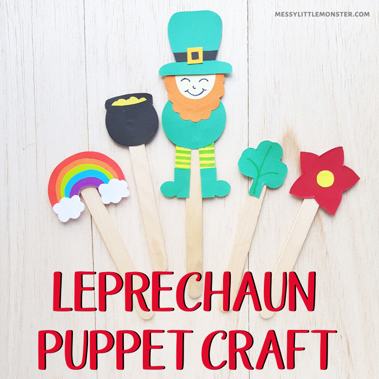 Popsicle stick leprechaun puppet craft