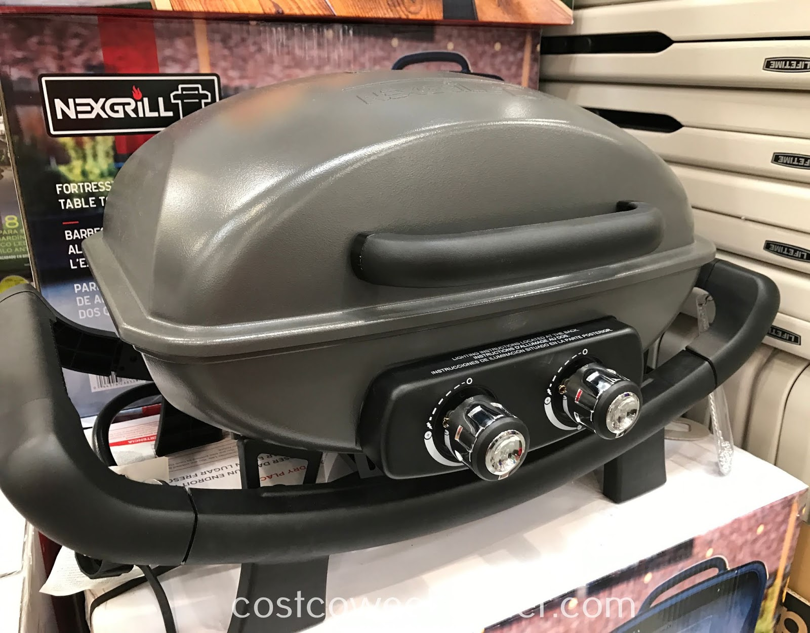 Have some barebecue on the Nexgrill Fortress 2 Burner Cast Aluminum Table Top Gas Grill