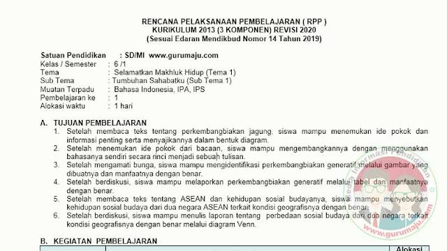 RPP 1 LEMBAR KELAS 6 SEMESTER 1 TEMA 4