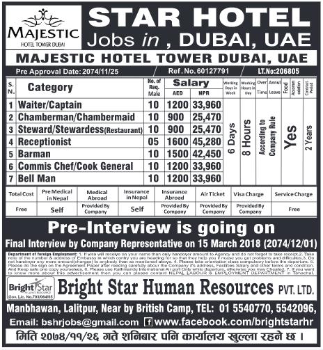 Jobs In Star Hotel In Dubai For Nepali Salary Rs 45 280 Hot Gulf Jobs