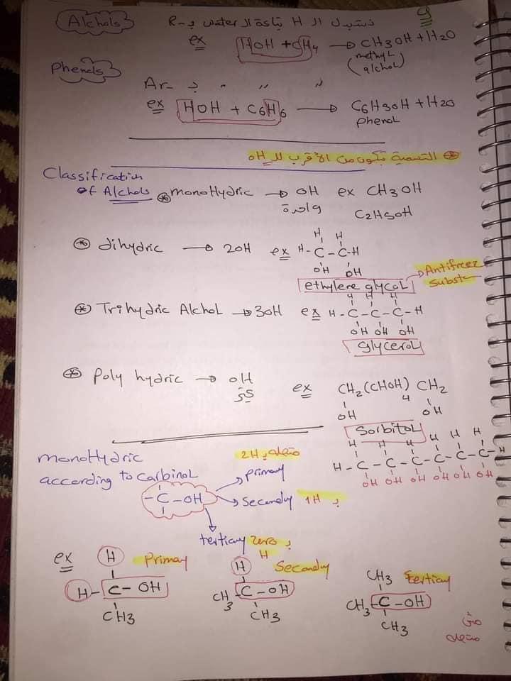 ملخص organic chemistry للثانوية العامة لغات 9
