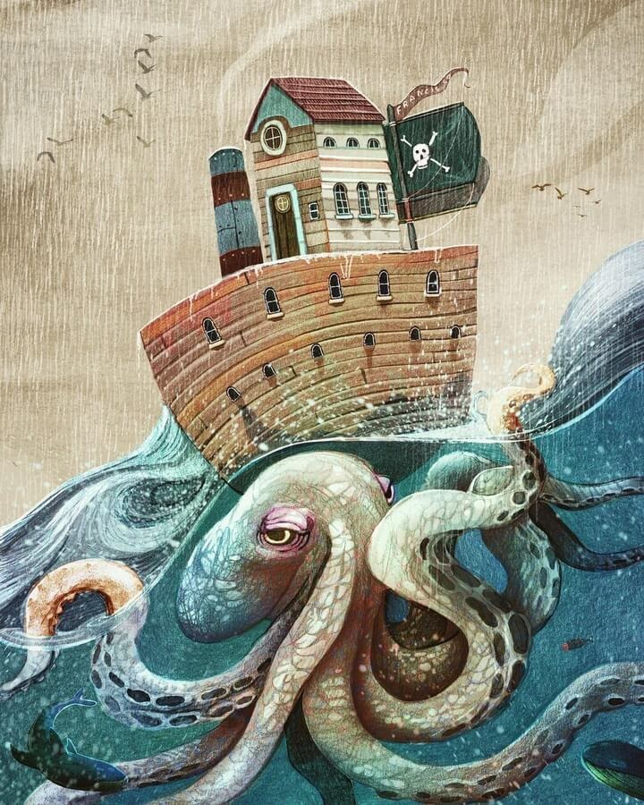 04-Pirate-boat-and-octopus-Francisco-Fonseca-www-designstack-co