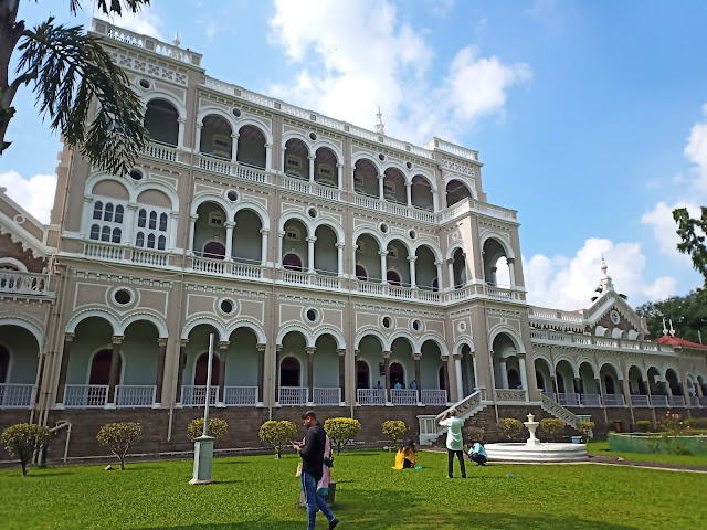 Front view of Aga Khan Palace and gardens