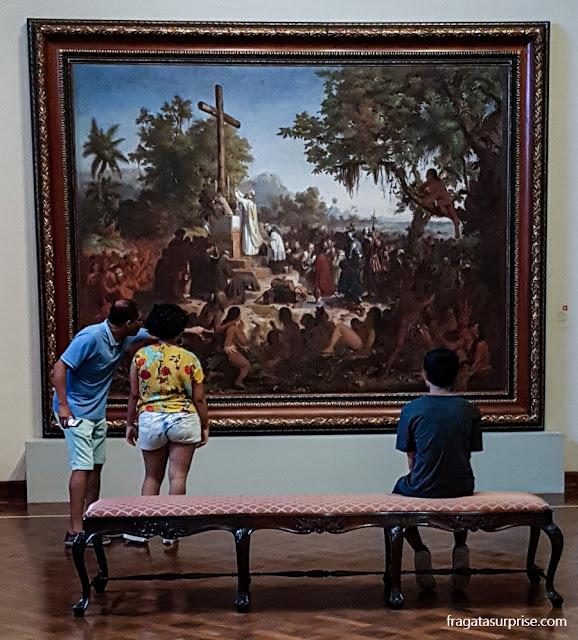 """""""A primeira Missa no Brasil"""", de Victor Meirelles, no Museu Nacional de Belas Artes"""