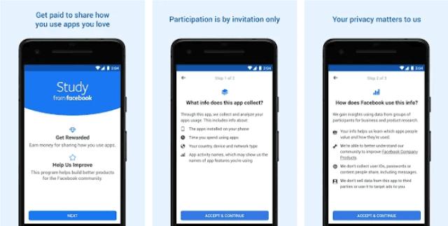 يمكنك تحميل الآن تطبيق فيسبوك الجديد Facebook Study الذي يدفع لك 20 دولار شهريا مقابل تثبيه على هاتفك فقط