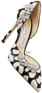 Jimmy Choo Teja Black and White Animal Print Pony Pumps with Crystal Wings #brilliantluxury