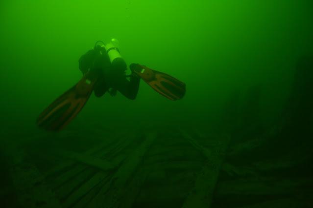 Sukeltaja sukeltaa pois päin meren pohjalla olevan puisen hylyn yläpuolella.