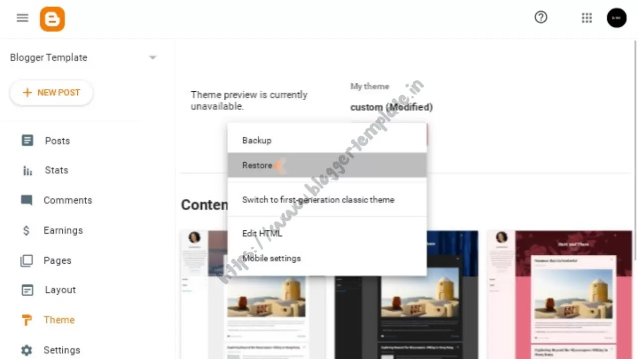 After clicking down arrow, a pop-up display will appear. On this page click on Restore